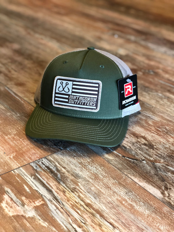 Hook Flag Patch - Olive/Tan Trucker