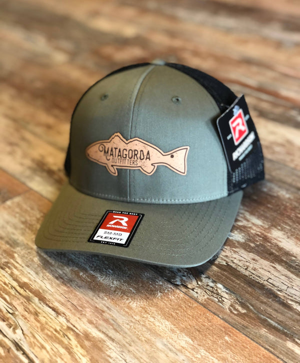 Redfish Leather Patch - Olive/Black Flex Fit
