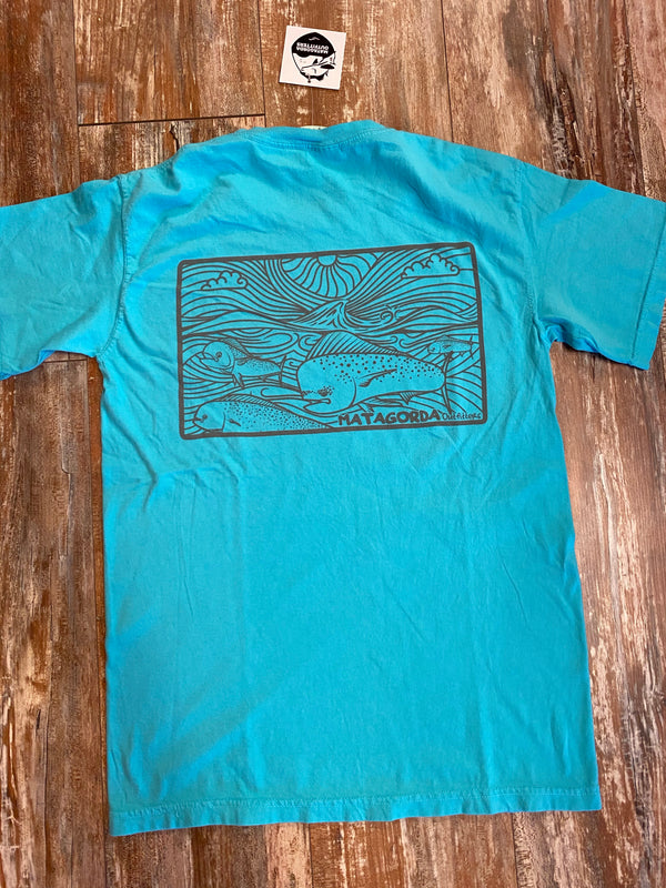 Bulls Running Logo T-shirt - Lagoon Blue/Grey