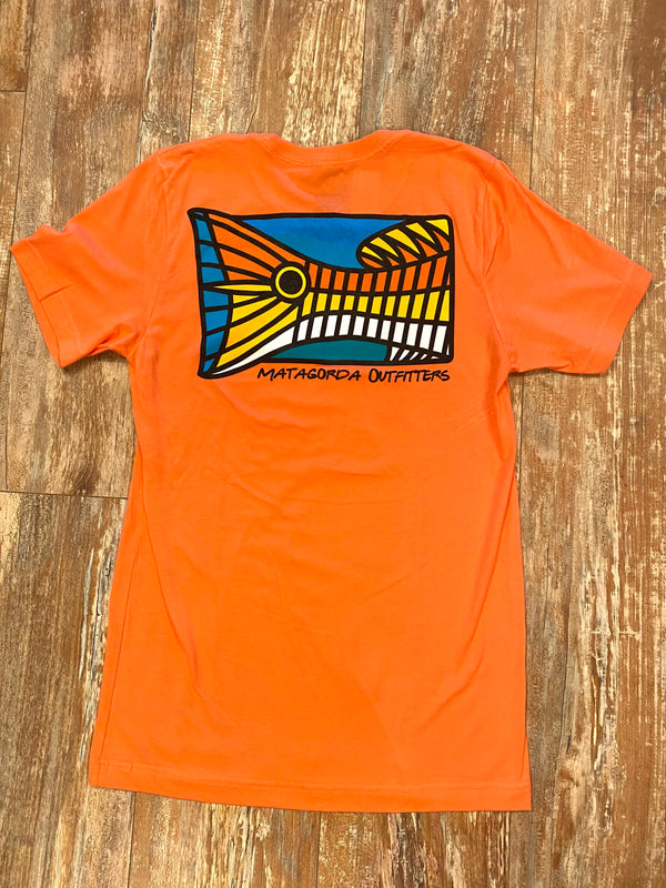 MO abstract redfish colorful t-shirt - neon orange