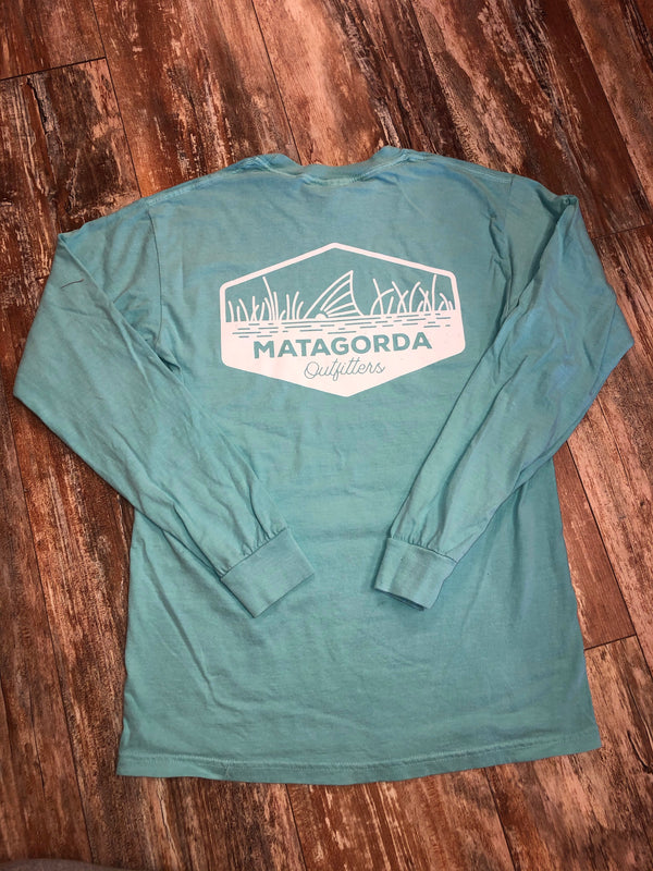 Cotton long sleeve running redfish- teal/white