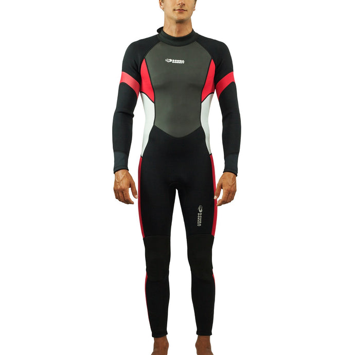 Scubadonkey 3 mm Neoprene Surfing Wetsuit for Men  (Black/Red)