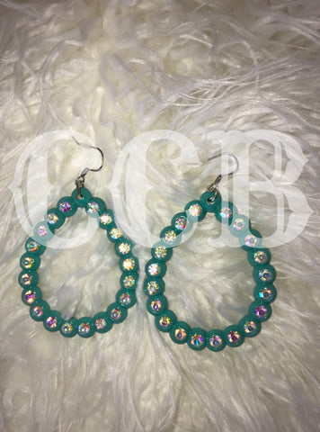 Turquoise Rhinestone Earrings