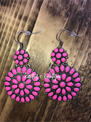 Pink Concho Earrings