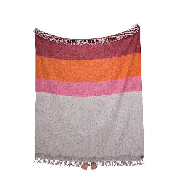 Recycled Wool Throw Orange & Pink