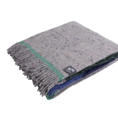 Recycled Wool Throw Block Navy & Green
