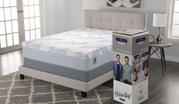 Scott Living mattress on platform bed with packaging