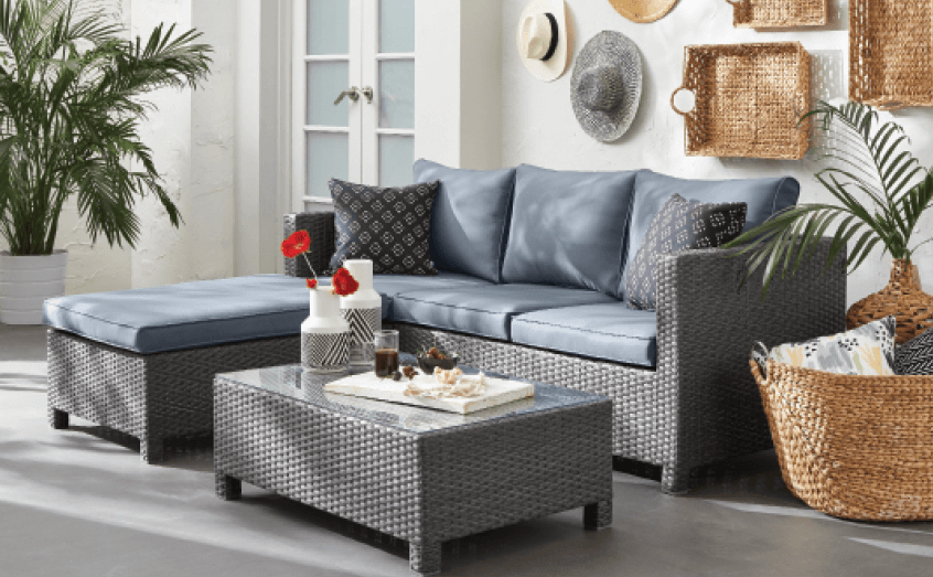 Patio furniture 3-piece conversation set with sofa, ottoman, and coffee table