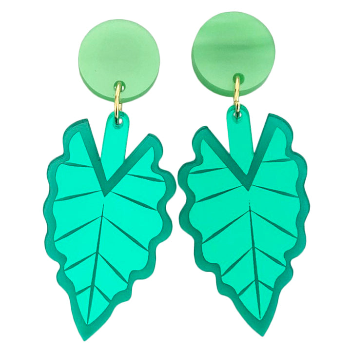 HELLO ALOCASIA GREEN EARRINGS