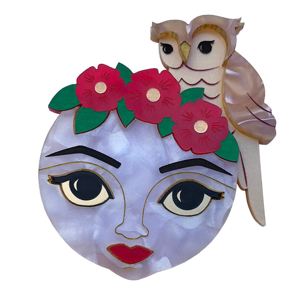 AWAKE OWL MOON BROOCH