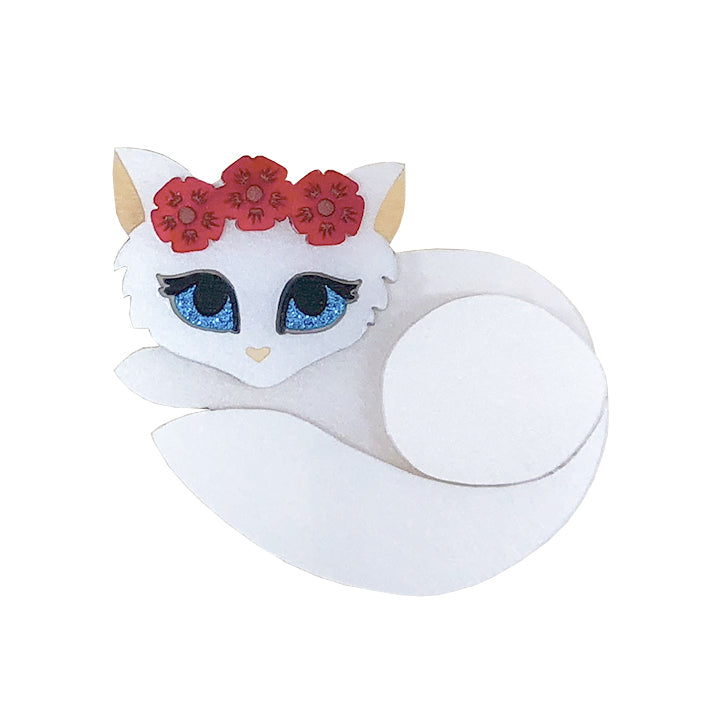 FLOWER QUEEN KITTEN BROOCH
