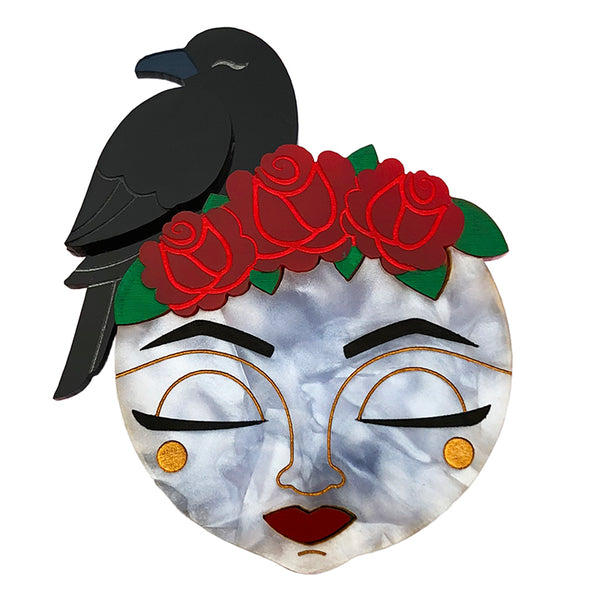 ASLEEP RAVEN MOON BROOCH