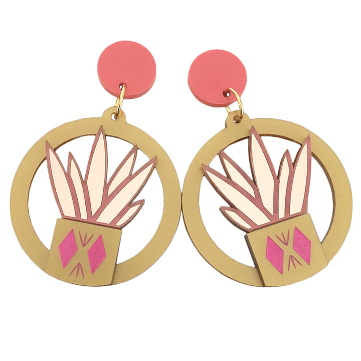 DIAMOND PLANTER PINK EARRINGS