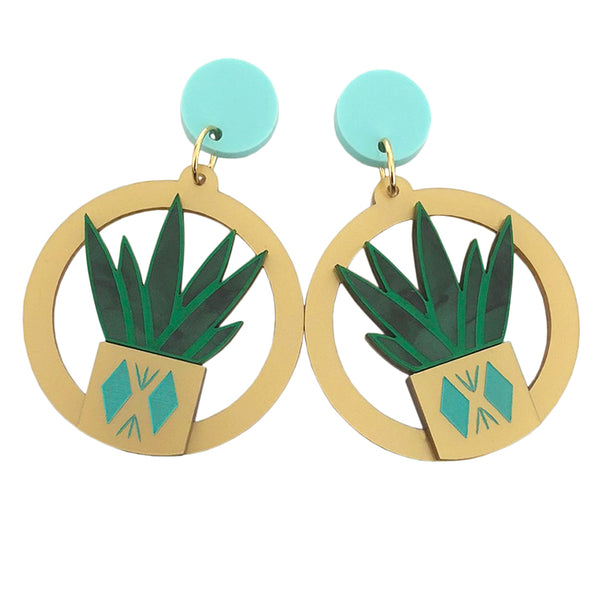 DIAMOND PLANTER GREEN EARRINGS