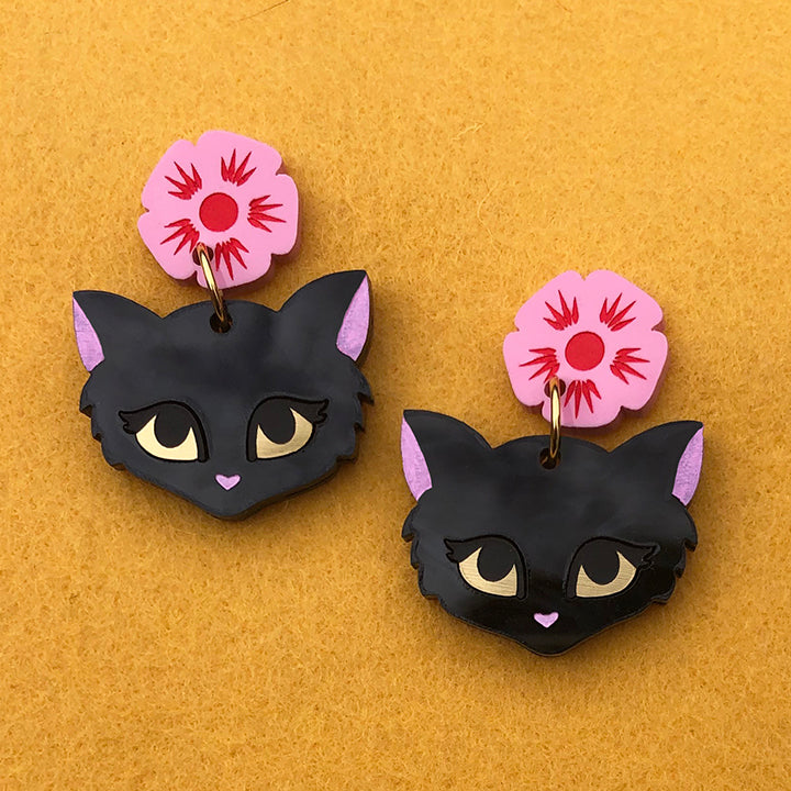 FLOWER QUEEN KITTEN EARRINGS