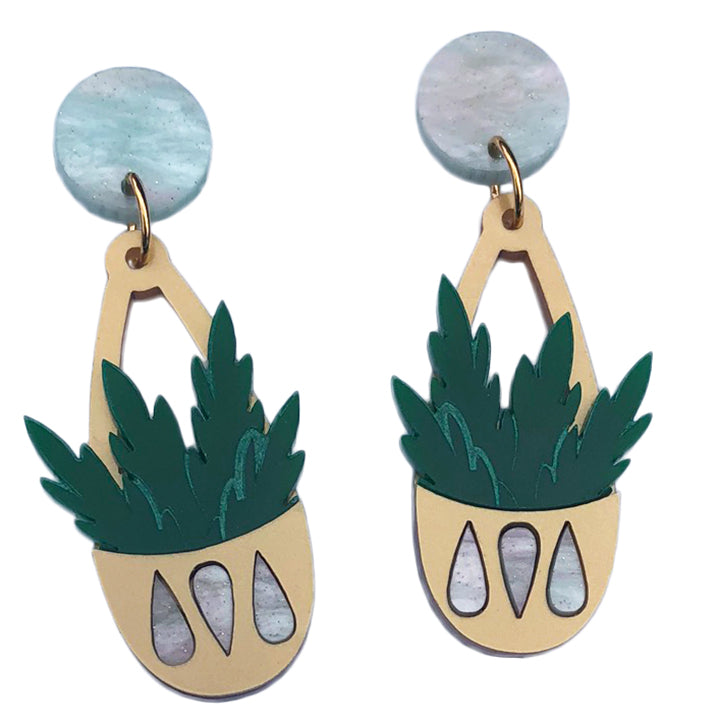 TEARDROP PLANTER EARRINGS PEAFLOWER