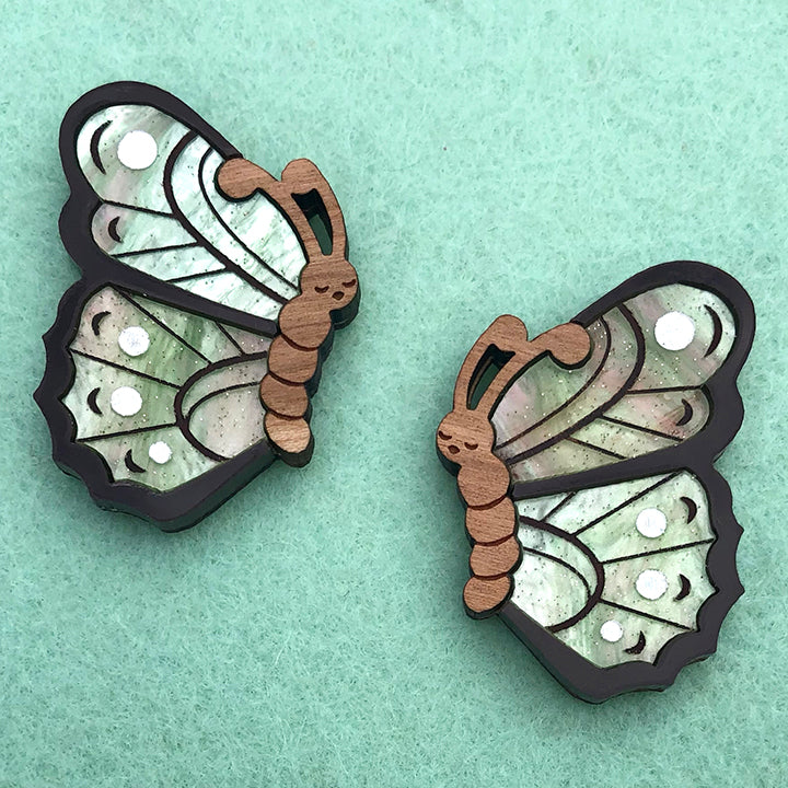 SLEEPY BUTTERFLY BROOCH SET GREEN