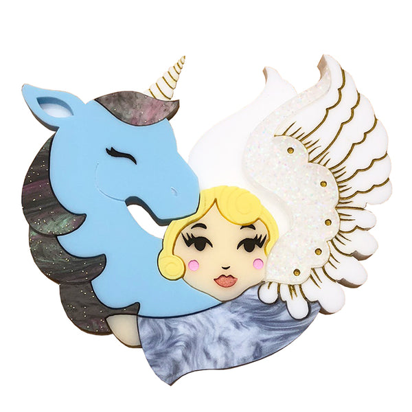 MY UNICORN ANGEL BLUE ACRYLIC BROOCH