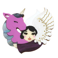 MY UNICORN ANGEL PURPLE ACRYLIC BROOCH