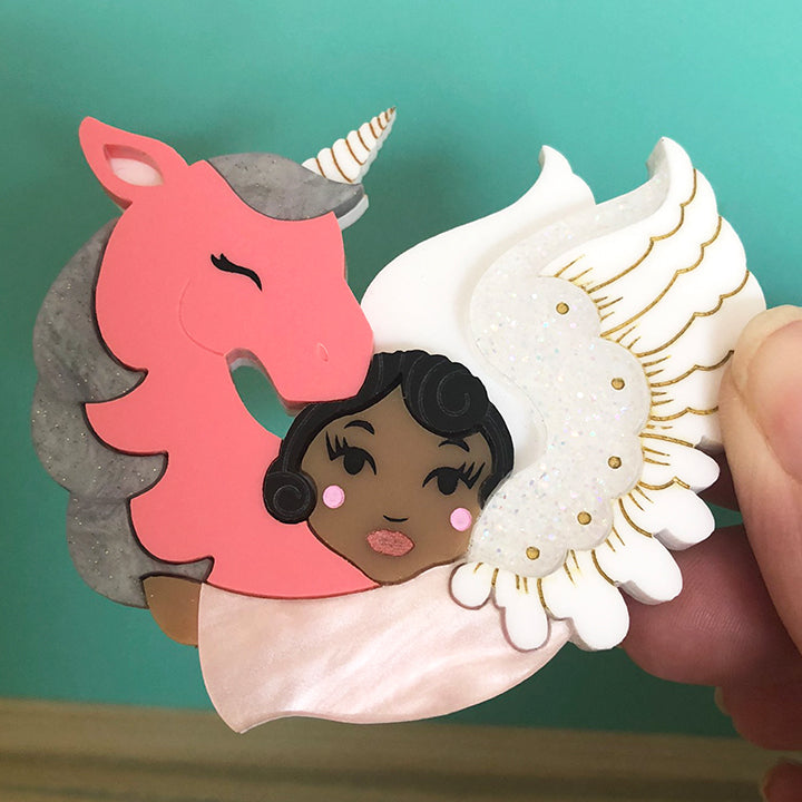 MY UNICORN ANGEL PINK BROOCH