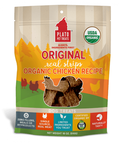 Plato,Plato Organic Chicken Strips Dog Treats