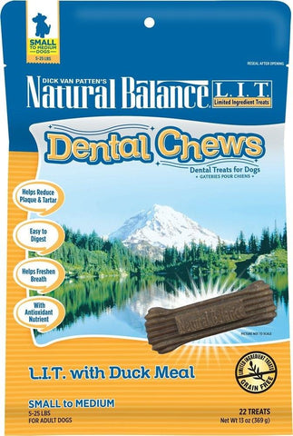 Natural Balance LIT with Grain Free  Duck Meal Dental Dog Chew