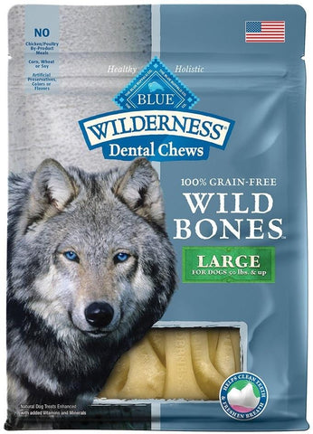Blue Buffalo,Blue Buffalo Wilderness Wild Bones Dental Chews Large Size for Dogs