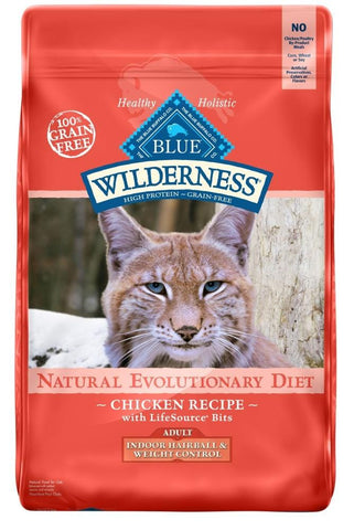 Blue Buffalo,Blue Buffalo Wilderness Grain Free Hairball & Weight Control Natural Chicken High Protein Recipe Indoor Dry Cat Food