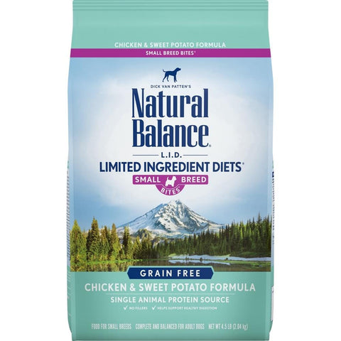 Natural Balance,Natural Balance L.I.D. Limited Ingredient Diets Grain Free Adult Sweet Potato and Chicken Small Breed Bites Dry Dog Food