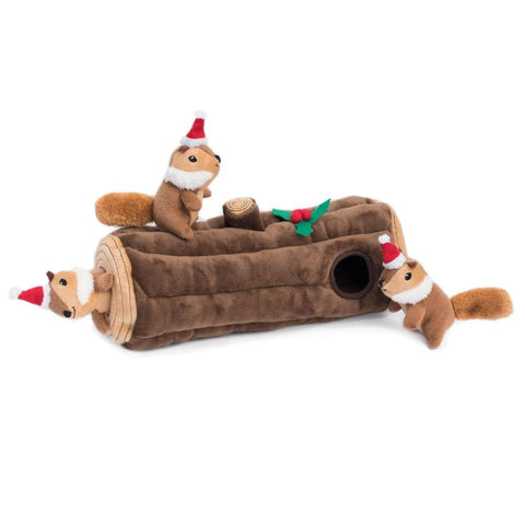 ZippyPaws Holiday Burrow Yule Log Puzzle Dog Toy