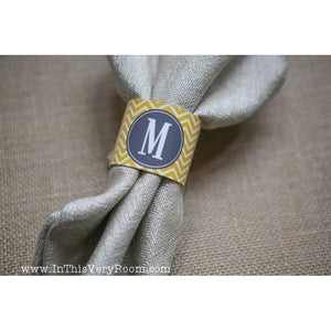 Chevron Stripes -  Napkin Rings Set of 2 - inthisveryroom