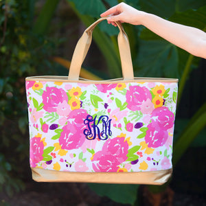 Floral & Gold Personalized Canvas Tote Bag