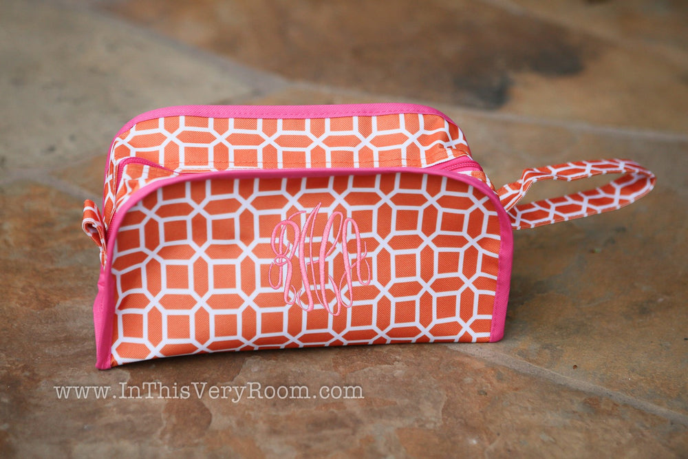 *SOLD OUT* Modern Orange & Pink Large Toiletry/Travel Bag Case - inthisveryroom