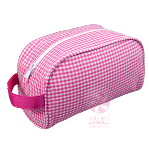Pink Gingham Dopp Style Bag
