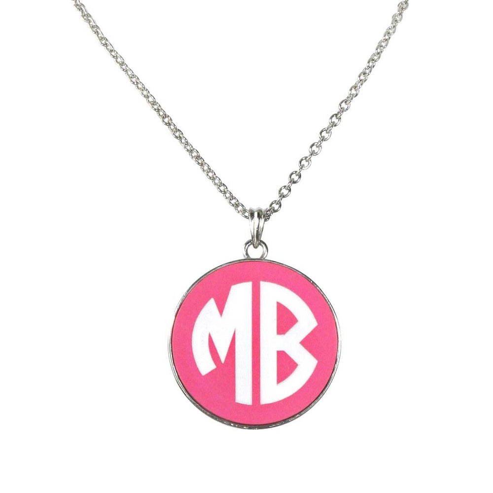 Hot Pink Engraved Disc Necklace - Gold or Silver