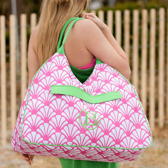 Shelly Personalized Beach Bag - Pink & Green