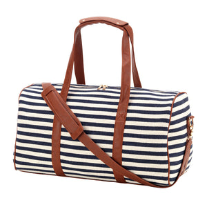 Navy Striped Travel Duffel Bag - Personlaized
