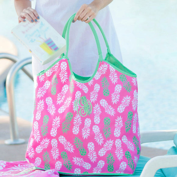 Monogrammed Pineapple Beach Bag