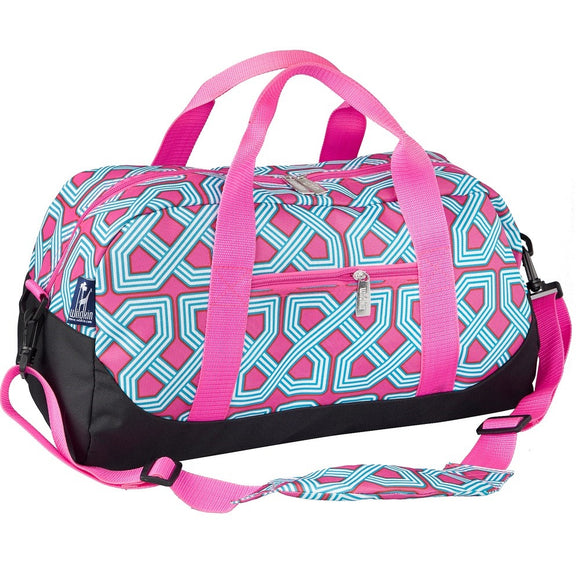 Monogrammed Pink & Turquoise Duffel bag for girls