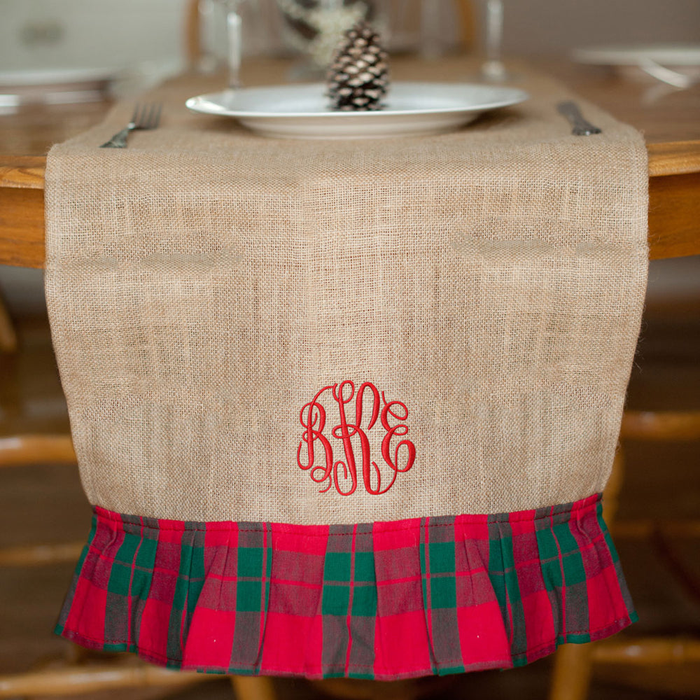 personalized christmas plaid table runner