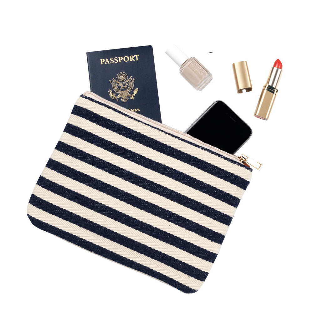 Chandler - Navy Striped Personalized Tote Bag - inthisveryroom