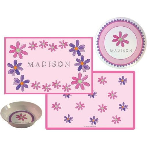 Flower Power Personalized Plate & Placemat Set Kids' Dish Set