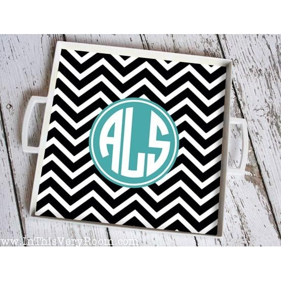 Monogrammed Tray with Handles