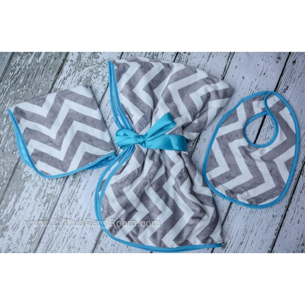 Grey & Aqua Chevron Baby Blanket, Bib & Burp Gift Set