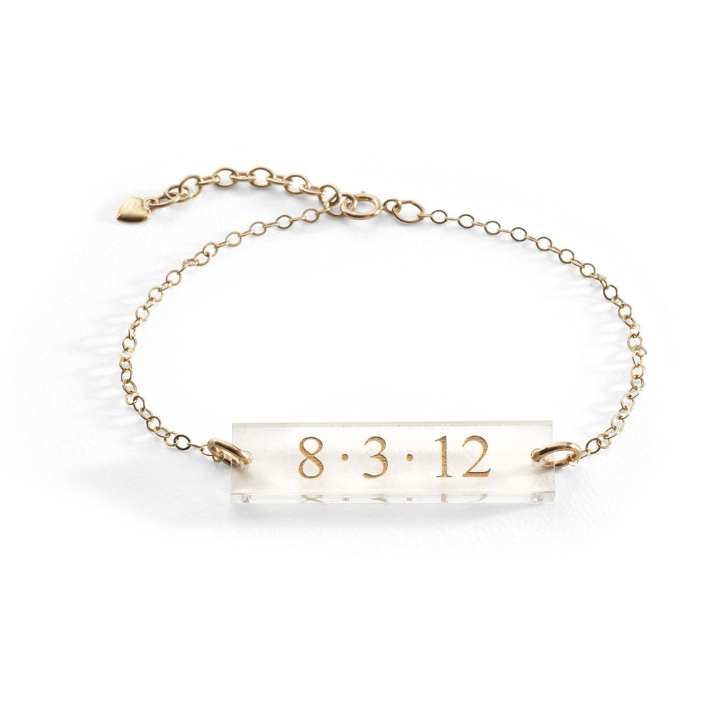 Bar Date Acrylic Bracelet by Moon and Lola