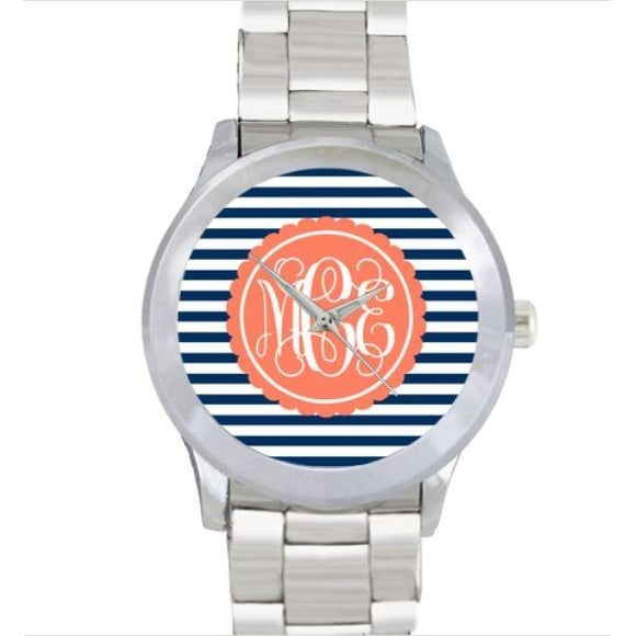 Stripes Print Watch - Stainless Steel