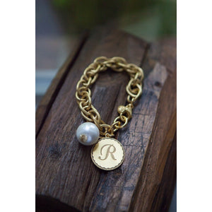 John Wind Gold Initial Bracelet with Pearl