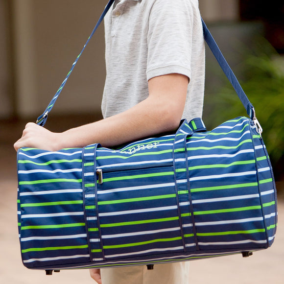 personalized stripes duffel bag for boys