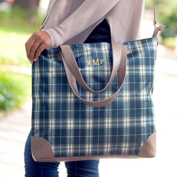 Monogrammed Plaid Tote Bag for Women