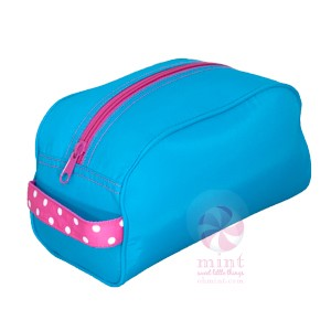 *SOLD OUT* Aqua & Hot Pink Dots Dopp Style Bag - inthisveryroom